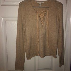 Tie up sweater/ long sleeve shirt